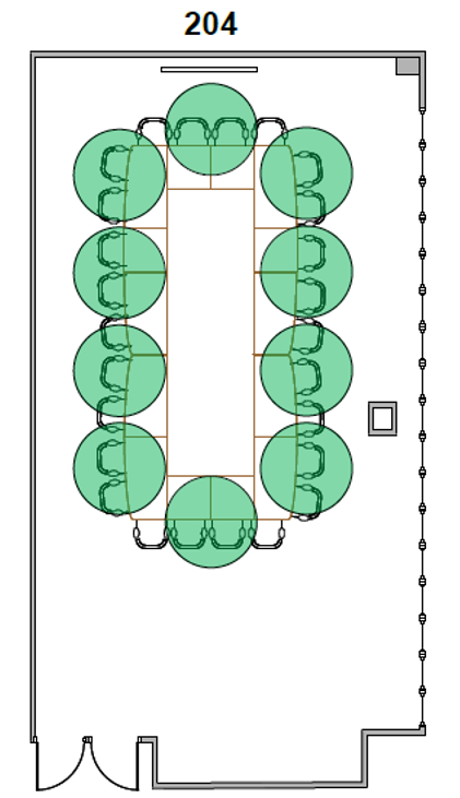 Diagram of Room 204 seating