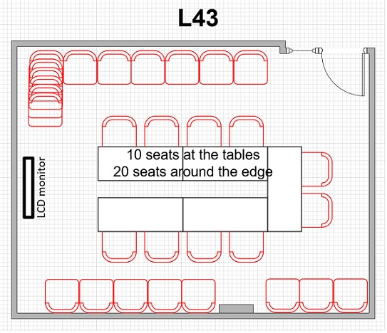 L43 meeting room layout 10 seats at table 20 seats around edge
