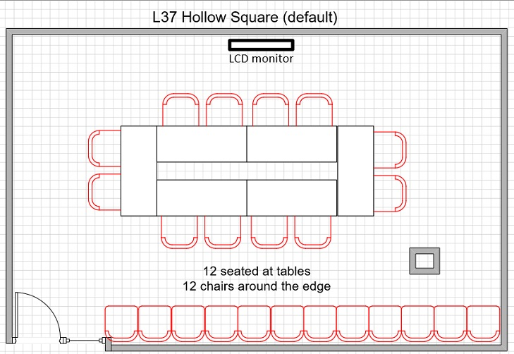 L37 12 seats on table 12 seats around edge in closed tables