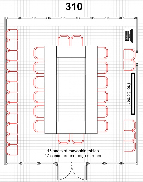 diagram of room 310 16 seats at tables arranged in a square with 17 chairs around exterior of the room